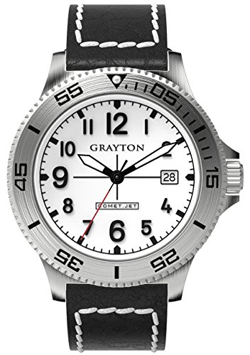 Grayton Comet.Jet Men's Quartz Watch with White Dial Analogue Display and Brown Leather Strap GR-0014-003.3