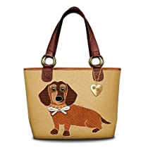 Dachshund Applique Canvas Tote Bag by The Bradford Exchange