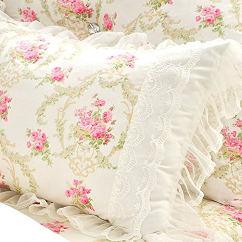 LELVA Girls Bedding Set Lace Ruffle Duvet Cover Princess Bedding Set Vintage Floral Print Duvet Cover Twin Full Queen King (Full, White) 4
