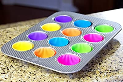 Premium Reusable Silicone Cupcake Liners / Set of 12 Reusable Silicone Baking Cups in SIX Colors - USE for Muffin, Gelatin, Snacks, Frozen Treats, Ice Cream or Chocolate Shell-lined Dessert Molds, Bonus -1 of 4 Random Sugar Craft Tool Plunger Cookie Cutte