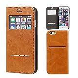 iPhone6s iPhone6 ケース 手帳型 カバー 窓付き カード収納 ウィンドウ フリップ / キャメル