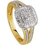 Diamond Line Damen-Ring 14 Karat (585) Gelbgold teilrhodiniert Diamant 1140