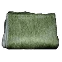 Super Soft 100% Alpaca Wool Reversible Throw Blanket Muted Green Earth Tone Cream Cross Weave