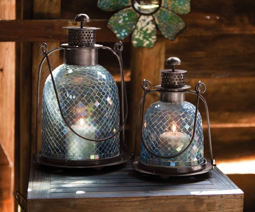 Set of 2 Teal Mosaic Glass Candle Lanterns