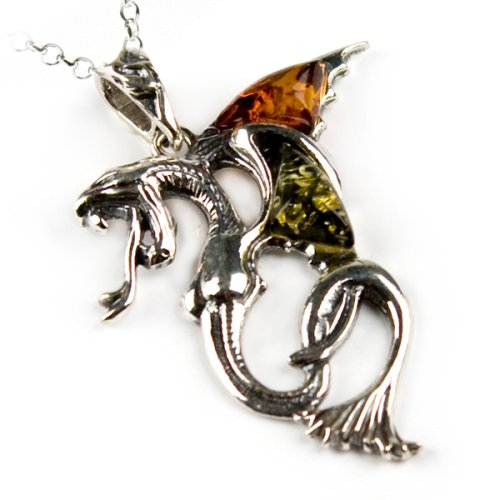 Certified Genuine Multicolor Amber and Sterling Silver Dragon Pendant, 18