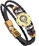 Doitory Men Fashion Alloy Leather Constellation Leo Braided Rope Bracelet(Leo)