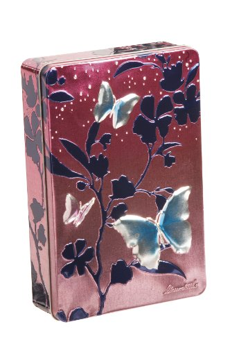 Churchills Pink and Blue Butterflies Tin with Chocolate Chunk and Hazelnut Biscuits 300 g