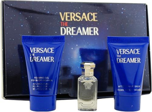 Dreamer By Gianni Versace For Men. Set-edt .17 OZ Mini & Aftershave Balm .8 OZ Mini & Hair And Body Gel .8 OZ Mini