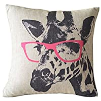 Goy Animal Style Giraffe Pink Glasses Sofa Simple Home Decor Design Throw Pillow Case Decor Cushion Covers Square 18*18 Inch Beige Cotton Blend Linen from deardeer