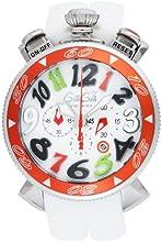[ガガミラノ]GaGa MILANO 腕時計 クロノ48mm ホワイト文字盤  ラバーベルト 100M防水 クロノグラフ デイト 6050.2-WHTRUBBER-LMT メンズ 【並行輸入品】