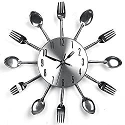 Suidcsui Modern Design Sliver Cutlery Kitchen Utensil Wall Clock Spoon Fork Clock