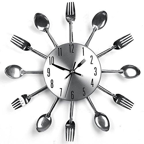 Suidcsui Modern Design Sliver Cutlery Kitchen Utensil Wall Clock Spoon Fork Clock