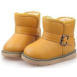 Qossi Kids Cute Buckle Thick Warm Winter Fur Boots