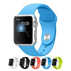 Apple Watch Band,Teslasz Soft Silicone Replacement Sport Wristbands Straps for Apple Watch(Blue 42 MM)
