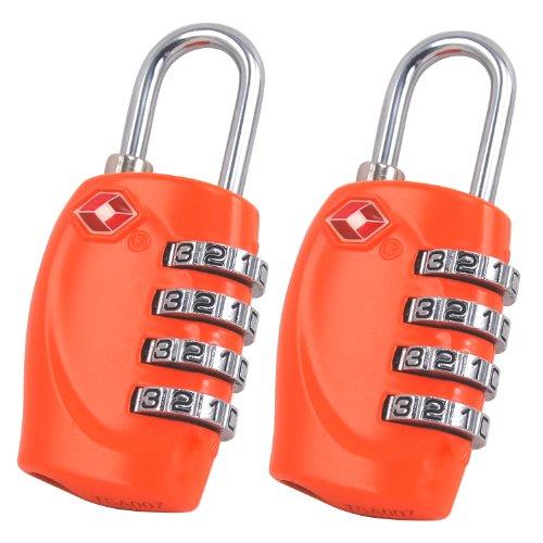 TRIXES x 2 Lucchetto di sicurezza a 4 combinazioni per valigia approvato dalla TSA - arancione