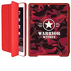 iPad Air 1 Smart Case Flip Cover (Red)- Neon Red -Warrior Within Camouflage-Limited Edition Designed by Nik-L