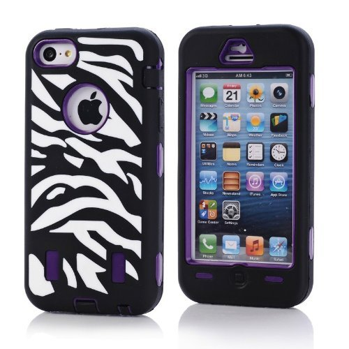 Tech Express (Tm) Animal Zebra Stripe & Polka Dot Design 3 Piece Snap On Hybrid Impact Defender Highly Durable And Flexible Silicone Tpu + High Quality Polycarbonate Bumper Bezel Frame Cover Case For Apple Iphone 5C (Black / Purple)