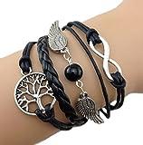 Armband-Unendlichkeit-Baum-des-Lebens-Himmelsflgel-und-Perlen-Schwarz-Silber-Infinity-besser-Lederband-anhnger-One-Direction
