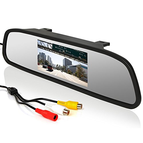 Intsun 4.3 inch Screen Car Vehicle Rearview Mirror Monitor for DVD/VCR/Car Reverse Camera(DC 12V / PAL / NTSC / 2 Ways Video Inputs) (4.3 inch) (Car Rear Mirror With Camera compare prices)