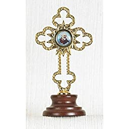 Third Class Relic Cross of Padre Pio on Wood Base 4\