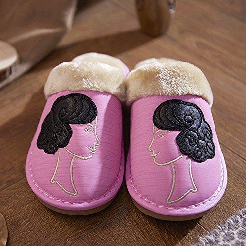 ZHLONG Pantoufles dames chausson thermique casual simili cuir