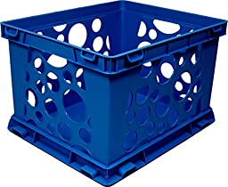 Storex Large Storage and Transport File Crate, 17.25 x 14.25 x 10.5 Inches, Blue, Case of 3 (STX61555U03C)
