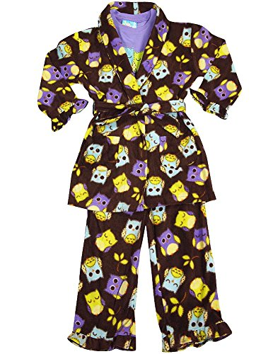 Bunz Kidz - Little Girls 3 Piece Robe and Pajama Set, Brown, Purple 35544-2T