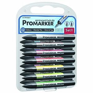 Letraset ProMarker Set (12 colours + Free Blender) - Set No.1