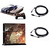 Vinyl PS4 Console + Controller Decal Skin Sticker Killzone: Shadow Fall with 5M Charge Data USB cable