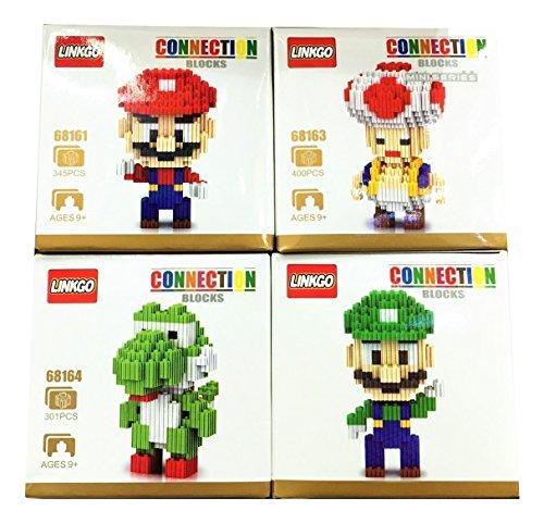 Mario and Luigi Dream Team with Toad Yoshi diy Figure Gear Toy Kids Building Blocks Nanoblock World Kart Party Supplies Star Rush Mini Micro Nano Diamond Brick Gift with Original Box 4 (Dream Genie Child Costume)