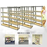 ELEPHANT® 8 PACK 76CM WIDE 5 TIER HEAVY DUTY STEEL WAREHOUSE RACKING GARAGE FREE STANDING SHELVING STORAGE