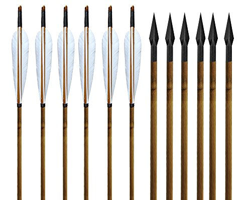 Huntingdoor-Traditional-Archery-Bamboo-Shafts-Arrows-White-Feathers-and-150gr-Archery-Broadheads-for-Practice-or-Hunting-Bows-Pack-of-6