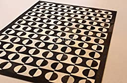 Handmade Natural Cowhide Leather Rug - Yin Yang (6\'x8\' (180cm x 240cm) XL Area Rug)