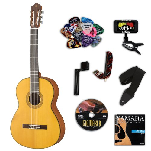 Yamaha CG122MS Matte Natural Classical Guitar BUNDLE w/ Legacy Accessory Kit (Tuner, DVD & More)