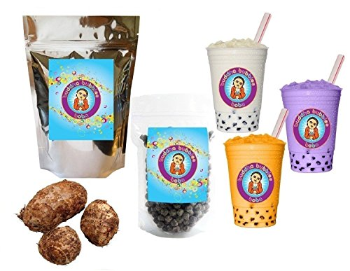 10 Drink Taro Boba Tea Kit: Tea Powder, Bubbles & Straw ~ Buddha Bubbles Boba ~