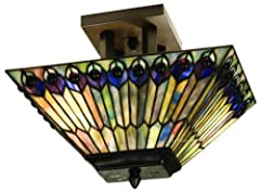 Jeweled Peacock Semi Flush Tiffany Stained Glass Ceiling Lighting Fixture 16 Inches W