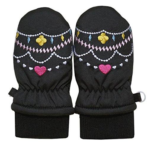 2014年 冬物 ハートジュエリー刺繍 スノー手袋 ミトン グローブ WARM GLOVES ブラック 1-2才