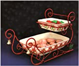 Ceramic Two Tiered Holiday Sleigh Serving Trays