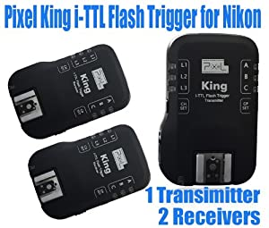 PIXEL King Wireless Radio i-TTL Flash Trigger for Nikon DSLRs and Flashes, 1 x Transmitter and 2 x Receiver Kit
