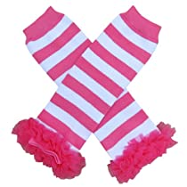 Chiffon Hot Pink Stripe - Tutu Chiffon Ruffle Leg Warmers - for Infant, Baby, Toddler, Girls