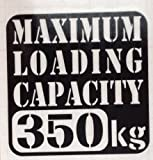 Amazon.co.jp【w-018-350】【1】【黒】【10cm x 10cm】最大積載量350kg 英語表記ステンシルカッティングステッカー