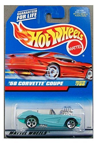 Hot Wheels '58 Corvette Light Blue #780 on red card, 1997 - 1