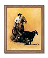 Rodeo Cowboy Calf Roping Western Home Decor Wall Picture Oak Framed Art Print