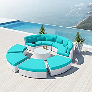 Amazoncom new uduka modavi 9pcs outdoor round sectional for Uduka outdoor sectional patio furniture white wicker sofa set