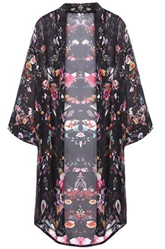 Bluetime Women's 3/4 Sleeve Floral High Low Chiffon Kimono Cardigan Blouse (XXL, Black)