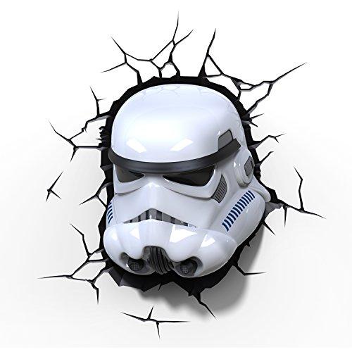 3d Deco Light Fx Lampada da Parete Disney Star Wars with Crack Sticker con Adesivi Stormtrooper