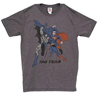 Junk Food Batman and Superman Tag Team Vintage Inspired Adult Heather Gray T-Shirt (Adult Small)