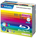 三菱化学メディア Verbatim BD-R LTH TYPE 1回記録用 25GB 1-6倍速 5mmケース 10枚パック ワイド印刷対応 ホワイトレーベル DLR25RP10V1