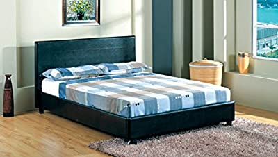 "4FT 6"" Faux Leather Double Bed Frame in Black Quality Material Best Price Spring Sale Started"