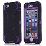 Vogue shop iPhone 5S Case, [Robot Series] iPhone 5S New Robot Case 3 in 1 3-piece Combo Hybrid Defender High Impact Body Armor Hard PC & silicone Case,Protective Cover for Apple iPhone 5S with Screen protector Aesthetic design (black/purple)
